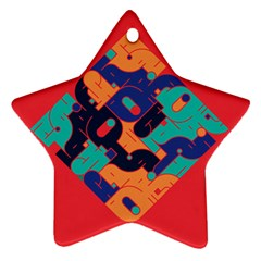 Plaid Red Sign Orange Blue Star Ornament (two Sides) by Mariart