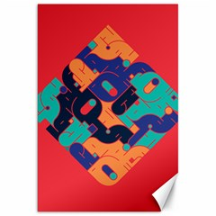 Plaid Red Sign Orange Blue Canvas 20  X 30   by Mariart