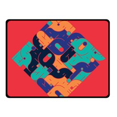 Plaid Red Sign Orange Blue Fleece Blanket (small)