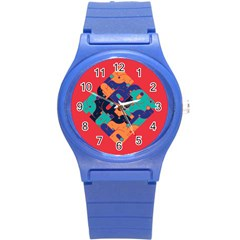 Plaid Red Sign Orange Blue Round Plastic Sport Watch (s) by Mariart