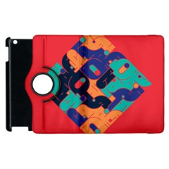 Plaid Red Sign Orange Blue Apple Ipad 2 Flip 360 Case by Mariart