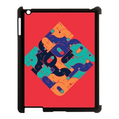 Plaid Red Sign Orange Blue Apple Ipad 3/4 Case (black) by Mariart