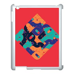 Plaid Red Sign Orange Blue Apple Ipad 3/4 Case (white) by Mariart