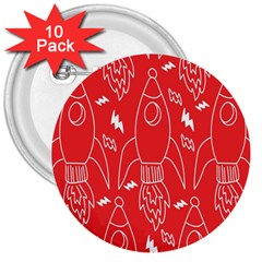 Moon Red Rocket Space 3  Buttons (10 Pack)  by Mariart