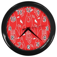 Moon Red Rocket Space Wall Clocks (black) by Mariart