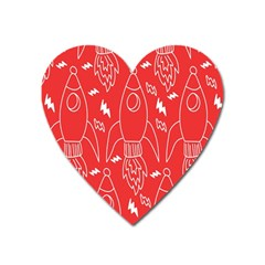 Moon Red Rocket Space Heart Magnet by Mariart