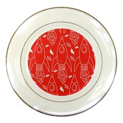Moon Red Rocket Space Porcelain Plates