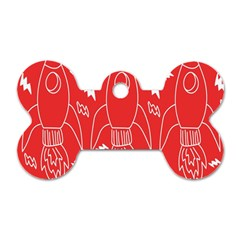 Moon Red Rocket Space Dog Tag Bone (two Sides) by Mariart