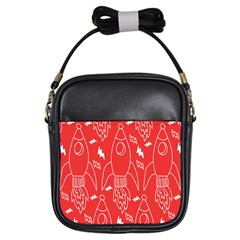 Moon Red Rocket Space Girls Sling Bags by Mariart