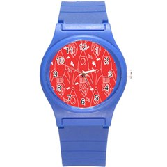 Moon Red Rocket Space Round Plastic Sport Watch (s) by Mariart