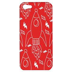Moon Red Rocket Space Apple Iphone 5 Hardshell Case by Mariart