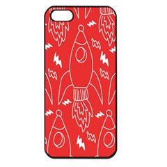 Moon Red Rocket Space Apple Iphone 5 Seamless Case (black) by Mariart