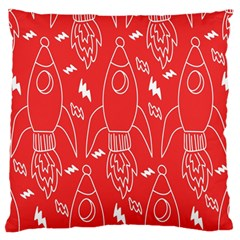 Moon Red Rocket Space Standard Flano Cushion Case (one Side) by Mariart