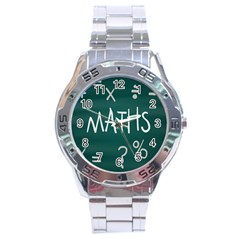 Maths School Multiplication Additional Shares Stainless Steel Analogue Watch by Mariart