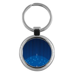Rain Blue Sky Water Black Line Key Chains (round)  by Mariart