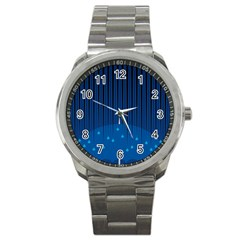 Rain Blue Sky Water Black Line Sport Metal Watch by Mariart
