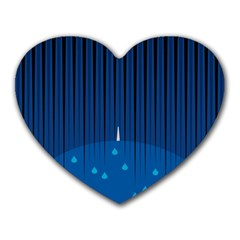 Rain Blue Sky Water Black Line Heart Mousepads by Mariart