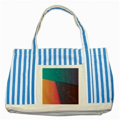Modern Minimalist Abstract Colorful Vintage Adobe Illustrator Blue Red Orange Pink Purple Rainbow Striped Blue Tote Bag by Mariart