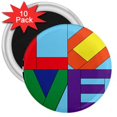 Rainbow Love 3  Magnets (10 Pack)  by Mariart