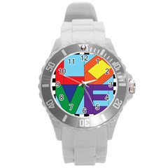 Rainbow Love Round Plastic Sport Watch (l) by Mariart