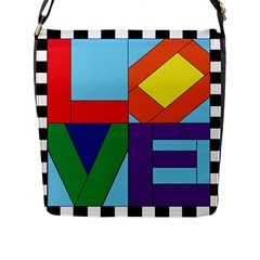 Rainbow Love Flap Messenger Bag (l)  by Mariart