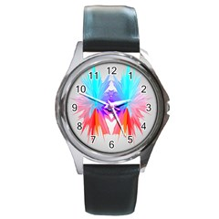 Poly Symmetry Spot Paint Rainbow Round Metal Watch by Mariart
