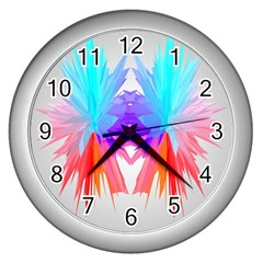 Poly Symmetry Spot Paint Rainbow Wall Clocks (silver)  by Mariart