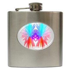 Poly Symmetry Spot Paint Rainbow Hip Flask (6 Oz) by Mariart