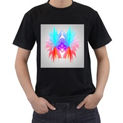 Poly Symmetry Spot Paint Rainbow Men s T-shirt (black) (two Sided) by Mariart