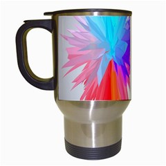 Poly Symmetry Spot Paint Rainbow Travel Mugs (white) by Mariart