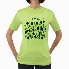 Scatter Geometric Brush Blue Gray Women s Green T Shirt by Mariart