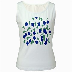 Scatter Geometric Brush Blue Gray Women s White Tank Top by Mariart