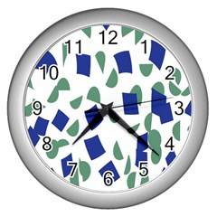 Scatter Geometric Brush Blue Gray Wall Clocks (silver)  by Mariart