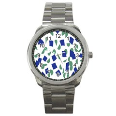 Scatter Geometric Brush Blue Gray Sport Metal Watch by Mariart