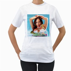 Woman In Pool Women s T Shirt (white)  by RakeClag