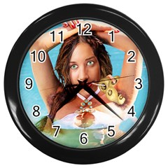 Woman In Pool Wall Clocks (black) by RakeClag