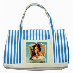Woman In Pool Striped Blue Tote Bag by RakeClag