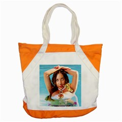 Woman In Pool Accent Tote Bag by RakeClag