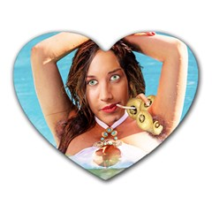 Woman In Pool Heart Mousepads by RakeClag