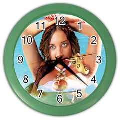 Woman In Pool Color Wall Clocks by RakeClag
