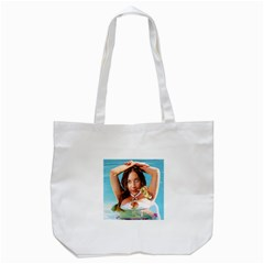 Woman In Pool Tote Bag (white) by RakeClag