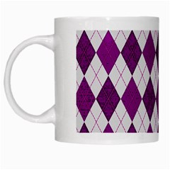 Plaid Pattern White Mugs