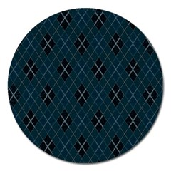 Plaid Pattern Magnet 5  (round) by Valentinaart