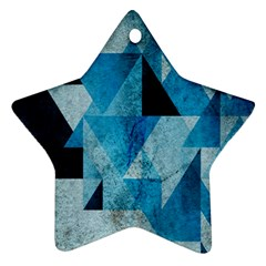 Plane And Solid Geometry Charming Plaid Triangle Blue Black Ornament (star)
