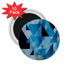 Plane And Solid Geometry Charming Plaid Triangle Blue Black 2 25  Magnets (10 Pack)