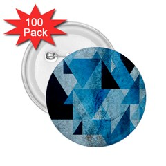 Plane And Solid Geometry Charming Plaid Triangle Blue Black 2 25  Buttons (100 Pack)
