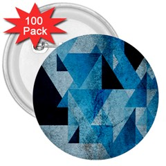 Plane And Solid Geometry Charming Plaid Triangle Blue Black 3  Buttons (100 Pack)  by Mariart