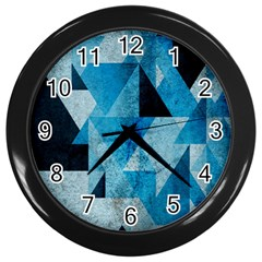 Plane And Solid Geometry Charming Plaid Triangle Blue Black Wall Clocks (black) by Mariart