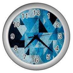 Plane And Solid Geometry Charming Plaid Triangle Blue Black Wall Clocks (silver)  by Mariart