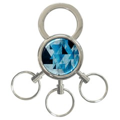Plane And Solid Geometry Charming Plaid Triangle Blue Black 3 Ring Key Chains by Mariart